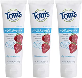 Tom`s of Maine Fluoride-Free Children`s Toothpaste, Kids Toothpaste, Natural Toothpaste, Silly Strawberry, 4.2 Ounce, 3-Pack