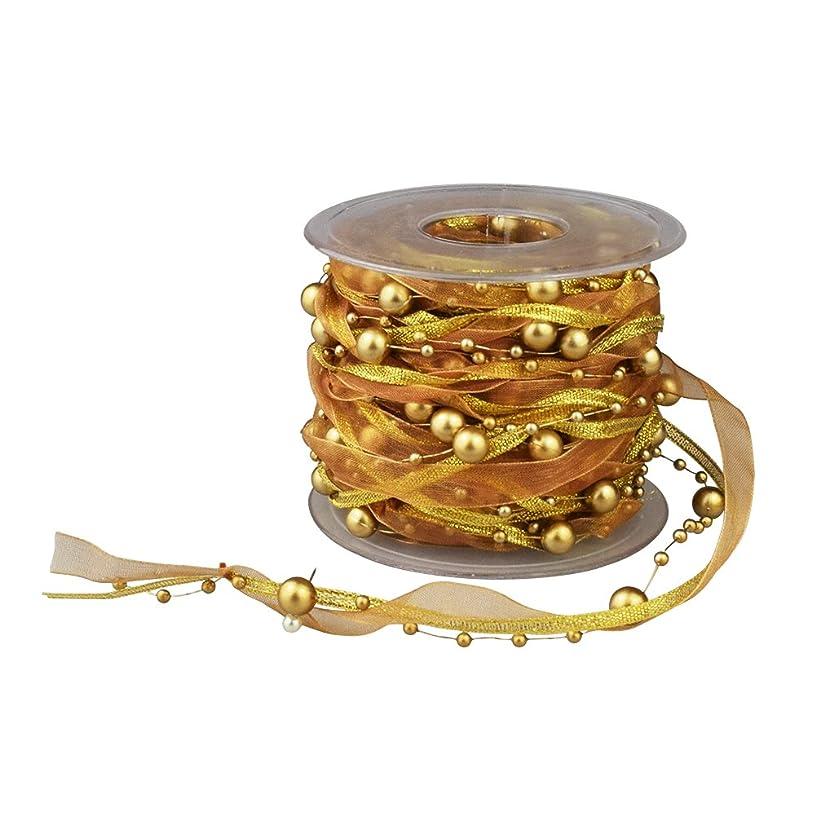 Fowod 3 Strings Beaded Ribbon, Pearl String, Satin Ribbon and Organza Ribbon, 33 Feet, Gold