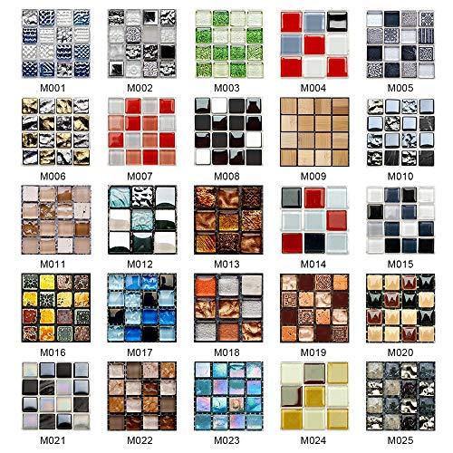 BLOUR 10 Uds, Azulejos de Mosaico de simulación, Pegatinas de Pared, transferencias, Cubiertas Planas Impresas 2D para Papel Tapiz de Armario de Cocina, Papel Tapiz Impermeable