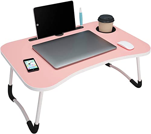 HOMEICE Multi Purpose Study Laptop Table Portable Bed Desk Smart Lapdesk for Children Foldable Cousin Lags Work Office Home with Tablet Pen Slot Cup Holder MDF Ply 60x39x27 cm Pink Beauty