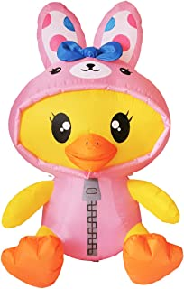 GOOSH 5 ft Tall Easter Inflatable Decorations Chick with Bunny Clothes Yard Decoration with Build in LEDs, for Easter Holi...