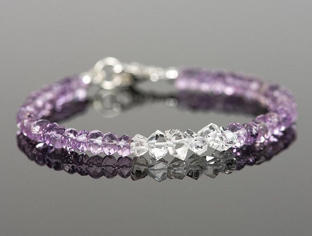 Amethyst Bracelet, Herkimer Diamond Natural Gemstone Bracelet, Gift for Her
