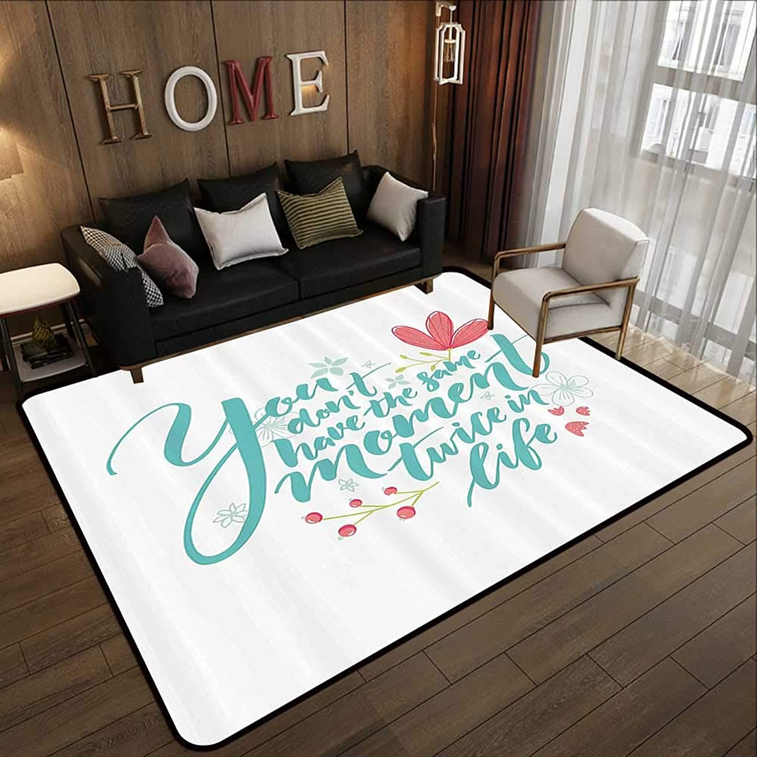 Kids Rugs,Inspirational Quotes,Inspirational Word Theme Hand Drawn Flowers in Pastel colors Print,Turquoise Pink 47 x 59  Slip-Resistant Washable Entrance Doormat