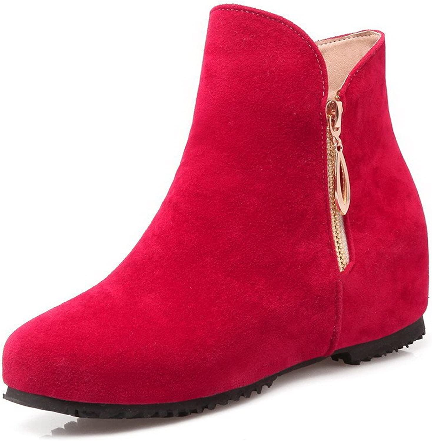 AllhqFashion Women's Imitated Suede Low-Top Solid Zipper Low-Heels Boots