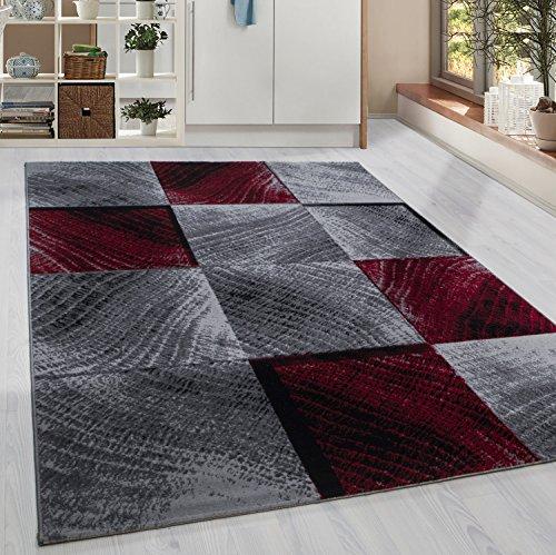 HomebyHome Kurzflor Teppich Karo Kachel Muster Wohnzimmerteppich Grau Schwarz Rot Meliert, Grösse:120x170 cm