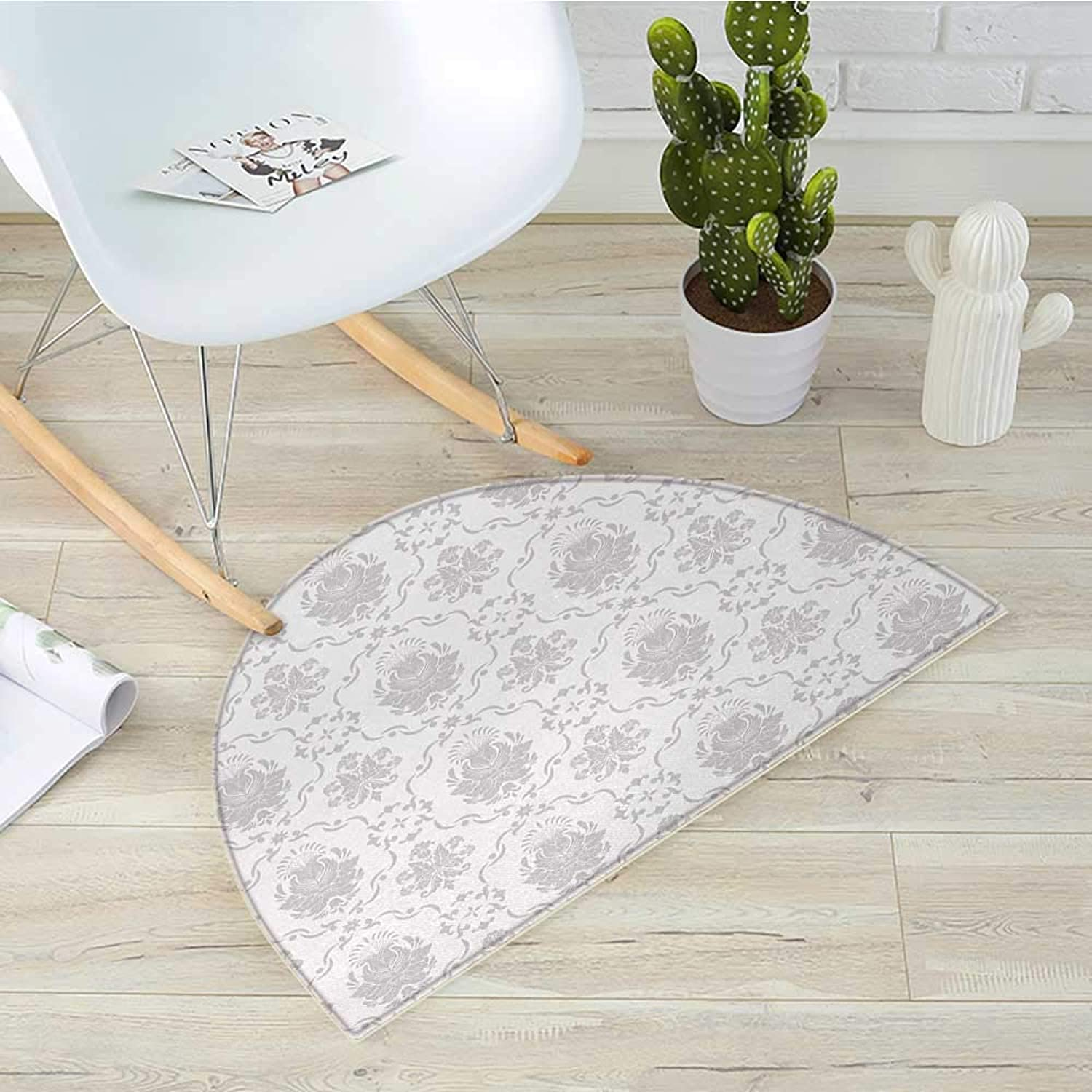 Grey Semicircular CushionClassic Victorian Floral Patterns Tulips Nostalgic Romantic Modern in Vintage Style Bohemian Entry Door Mat H 39.3  xD 59  Grey