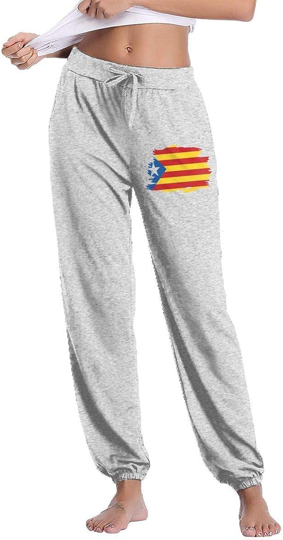 Sport outdoor 003 Catalunya Flag Catalonian Lndependence Womens Drawstring Waist Cotton Long Sweatpant