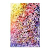 """リビングルームの家の装飾のためのモダンな抽象的なスタイルの色付きの木のポスターとプリントキャンバス絵画壁アート画像(40x80cm / 15.7 """"x31.4"""")フレームレス"""
