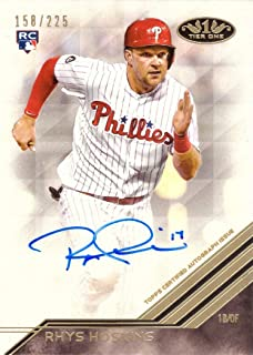 2018 Topps Tier One #BA-RH Rhys Hoskins Certified Autograph Baseball Rookie Card - Only 225 made!