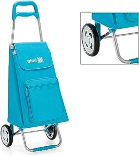 Carrello porta spesa Colore Azzurro con struttura in acciaio e sacca in poliestere della Gimi modello Argo