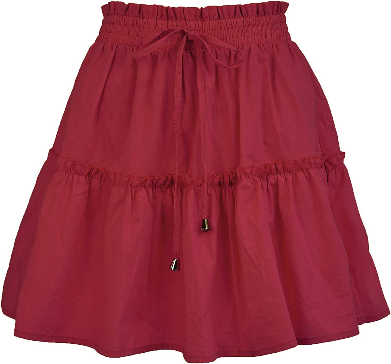 Women's Boho Flared Short Skirts High Waist Ruffle Pleated A-Line Skater Casual Mini Skirt with Drawstring