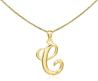Sterling Silver Initial Alphabet Letters Pendant Necklace from A-Z, 18 inch
