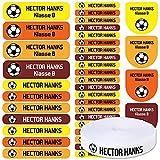 Pack 155 etiquetas personalizadas para marcar ropa y objetos. 100 Etiquetas de tela termoadhesiva + 55 etiquetas adhesivas de vinilo. (SPORTS)