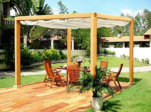 """Jardín Verde - Pérgola classica de madera """"Romana"""" con cubierta de tela resistente y replegable. Dimensiones: h2,52m x 2,24m x 3,24m"""