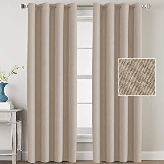 H.VERSAILTEX Linen Blackout Curtains 108 Inches Long Room Darkening Heavy Duty Burlap Efffect Textured Linen Curtains/Draperies/Drapes for Living Room Bedroom - Light Taupe (2 Panels)