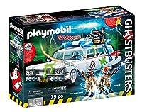 Divertimento per i piccoli Acchiappafantasmi: Ecto-1 dei Ghostbusters Playmobil con fantastici effetti sonori e luminosi per 4 personaggi e il loro equipaggiamento tetto rimovibile, portabagli apribile, 2 personaggi, 4 ganci per zaini protonici, trap...