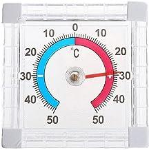 Easyeeasy Vierkante kunststof deur- en raamthermometer Binnen Buiten Muur Tuin Wijzerplaat Thermometer meten Instrument