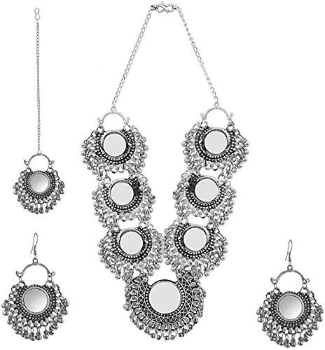 Silver Afghani Mirror Necklace Set With Earrings And Maangtikka For Women Girls Pack Of 3