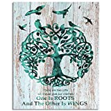 Visual Art Decor Rustic Abstract Teal Life Tree with Birds Picture Inspirational Education Quotes Canvas Wall Art for Family Home Kids Children Nursery Bedroom Decoration Gift (01, 16x20)