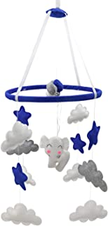 Piccolin Baby Crib Mobile, Hanging Toys, Nursery Decor for Boys, White, Blue and Grey Room Decorations, Elephants, Moons and Stars. Safe, Non-Toxic, Crib for Newborn, Baby Shower Present
