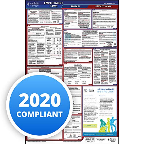 """2020 Pennsylvania Labor Law Poster, All-in-One OSHA Compliant PA State & Federal Laminated Poster (26""""x40"""" English) - Includes FFCRA Poster - J. J. Keller & Associates"""