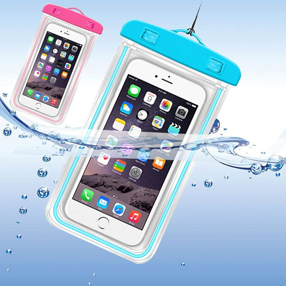 iPhone Waterproof Case,Waterproof Bag,2 Pack Noctilucent Cellphone Underwater Dry Pouch Waterproof Cases Cover for iPhone 12/11 Pro Max/Pro/8 Plus, Galaxy S21/S20/S10/Note 20/10/9, Pixel 4 XL up to 7