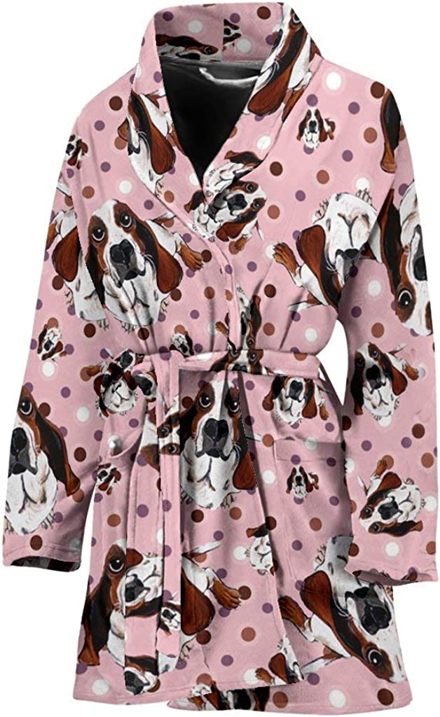 Long Beach Mall Basset Hound Dog in Lots Bath Large-scale sale Print Women's Robe