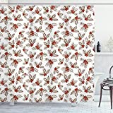 ABAKUHAUS Weihnachten Duschvorhang, Holly Beeren Blätter, Bakterie Schimmel Resistent inkl. 12 Haken Waschbar Stielvoller Digitaldruck, 175 x 200 cm, Scarlet Brown