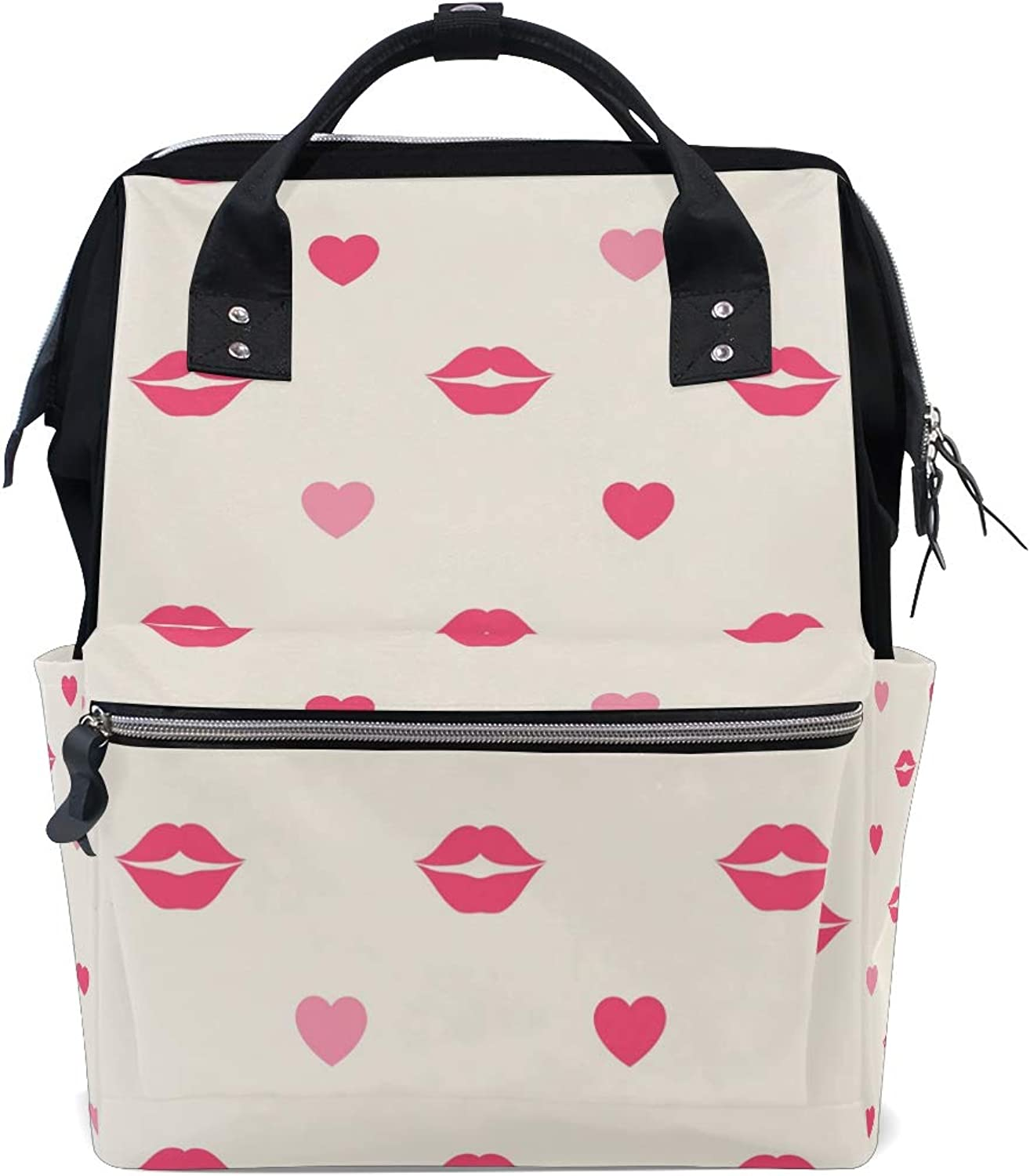 DEZIRO Canvas Red Lips and Hearts School Pack Backpacks Travel Bag