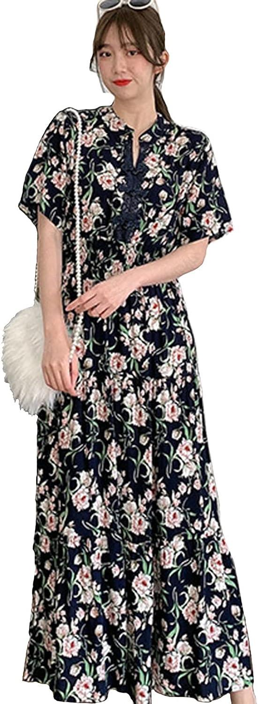 Women's Casual Excellence Bohemian Sand Dresses Short Button Sleeve Direct sale of manufacturer Vintage