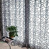 Juego de cortinas Fastar transparentes de gasa con motivo floral y cenefa, negro, B:100*270cm