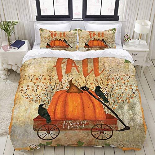 Funda nórdica, parche de calabaza de la granja rústica vintage de otoño en carro de madera roja contra la pared rota Temporada de cosecha, juego de cama Cómodo y liviano y lujoso conjunto de microfibr