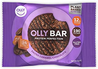 OLLY Protein Bar, 12g Plant Protein, Salted Caramel Chocolate, 1.6 oz Bars, Pack of 24