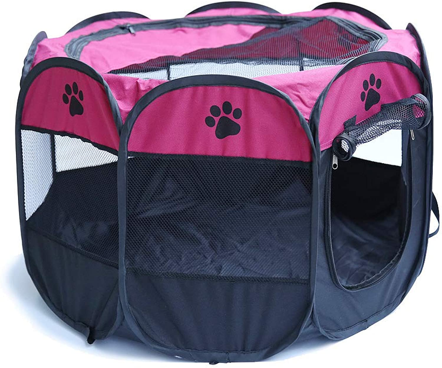 JXJL Pet Play Pen Portable Foldable Puppy Dog Pet Cat Rabbit Guinea Pig Fabric Playpen Crate Cage Kennel Tent (pink),70x70x45CM