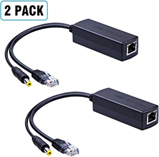 2-Pack Active PoE Power Over ethernet Splitter Adapter 48V to 12V, IEEE 802.3af Compliant 10/100Mbps PoE Splitter with 12V Output for Surveillance Camera, ipolex