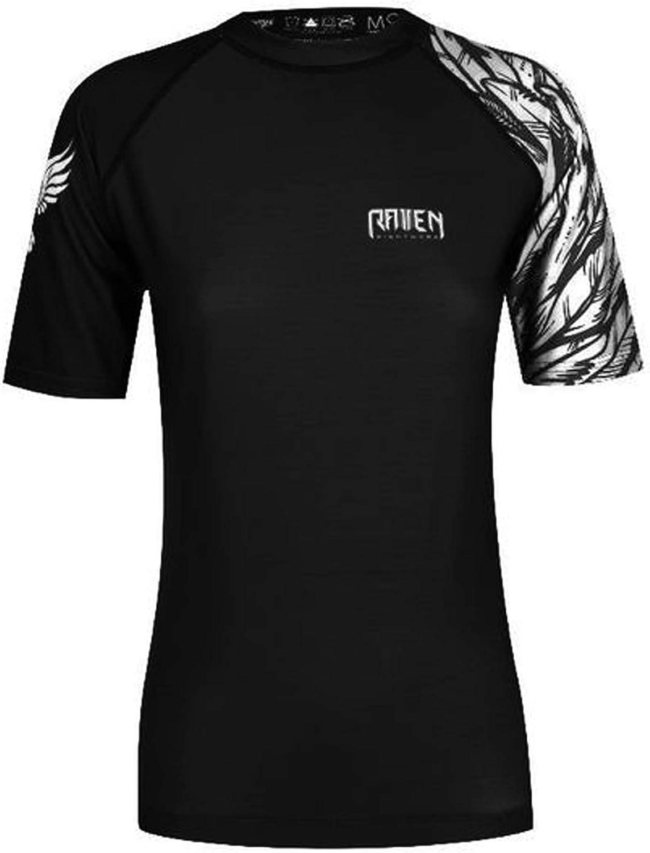 Raven Fightwear Women's Aerial Assault MMA BJJ Short Sleeve Rash Guard Black/White