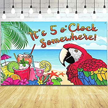 It s 5 O clock Somewhere Backdrop Parrot Pattern Summer Tropical Sea Beach Photo Booth Backdrop Background Banner for Summer Tropical Luau Hawaiian Aloha Party Decoration Supplies 71 x 43 Inch