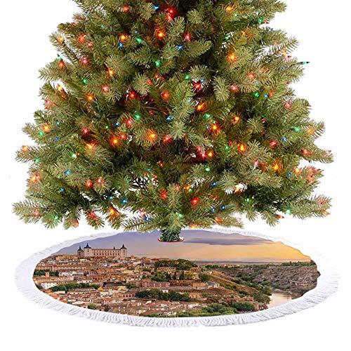 Adorise Alfombra para faldas de árbol Toledo España Old City sobre el río Tajo, castillo, arquitectónico antiguo, decoración de Navidad para fiestas de Navidad, 76,2 cm