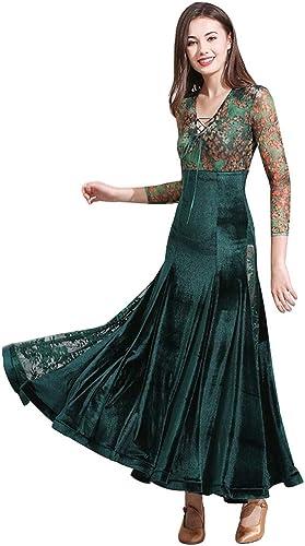 JTSYUXN V-Cou élégant Pratique De Danse Moderne Robes De Formation pour Les Femmes Floral Mesh Couture Couture Costume De Danse De Salon Sexy (Couleur   Dark vert, Taille   L)