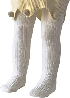 Zando   Soft Infant Tights Seamless Cable Knit Baby Tights for Baby Girls Leggings Stockings Newborn Pantyhose Winter Clothes Toddler Warm Socks Ivory White L/ 1-2 Year Prime
