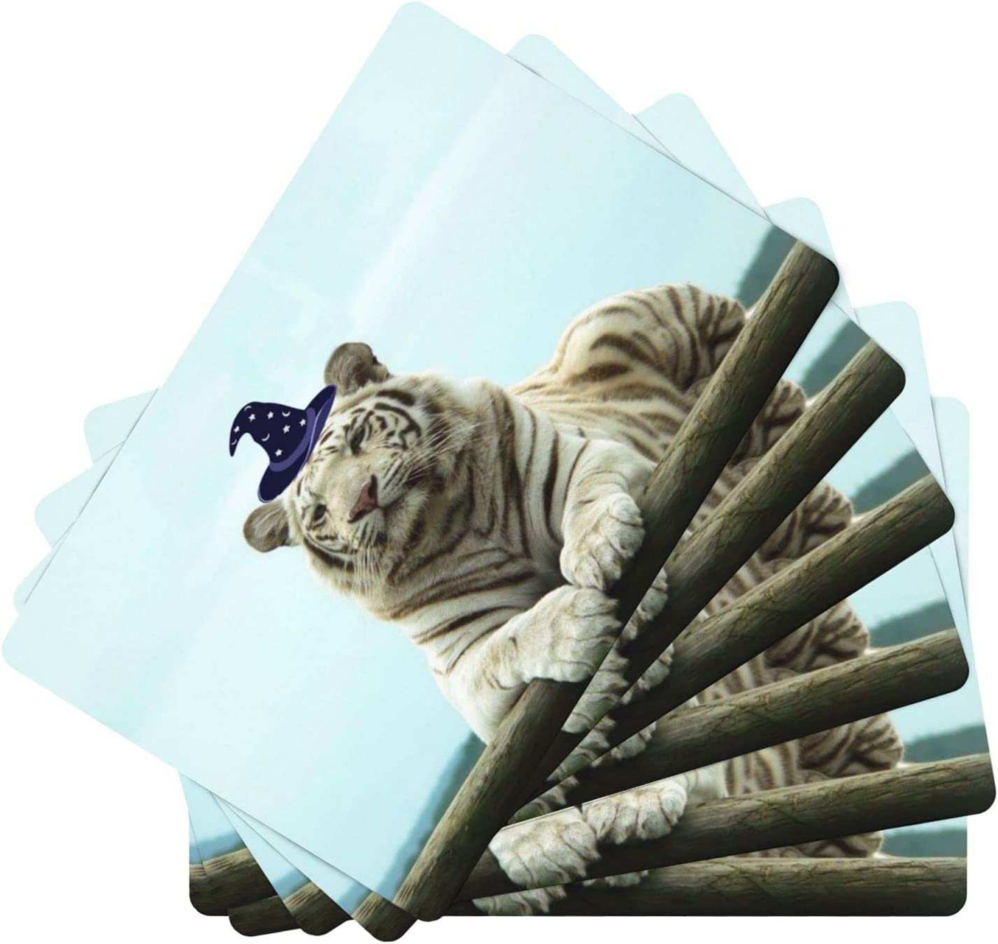 PNdeid White Albuquerque Mall Large-scale sale Tiger Magician Design mats for Dining Place Leather