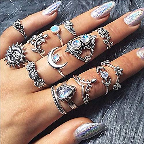Edary Vintage Sun Stackable Rings Set Floral Carved Joint Knuckle Rings Crystal Rings Set Silver Moon Rings for Women and Girls(14PCS)