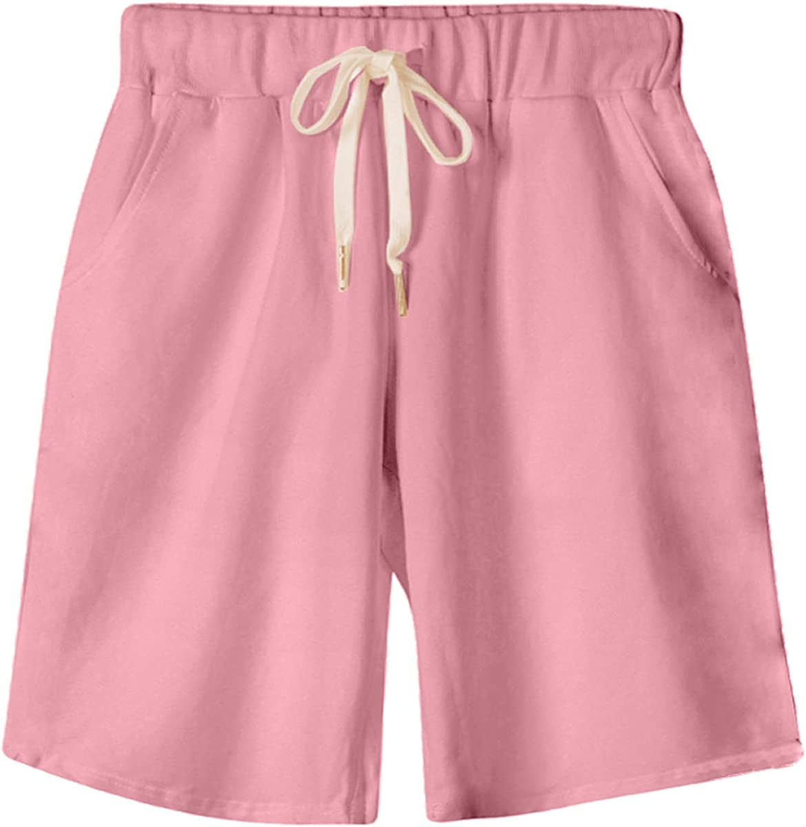 Fuwenni Women's Elastic Waist Shorts Soft Knit Jersey Knee Length Bermuda Shorts with Drawstring