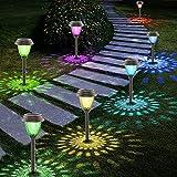 Solarleuchten Garten, 6 Stück Warmweiß Solarlampen für außen Garten, IP65 Wasserdicht Dekorative Solar Gartenleuchten für Rasen Gehweg Landschaft