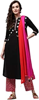 Rain & Rainbow Women's Cotton Straight Salwar Suit Set