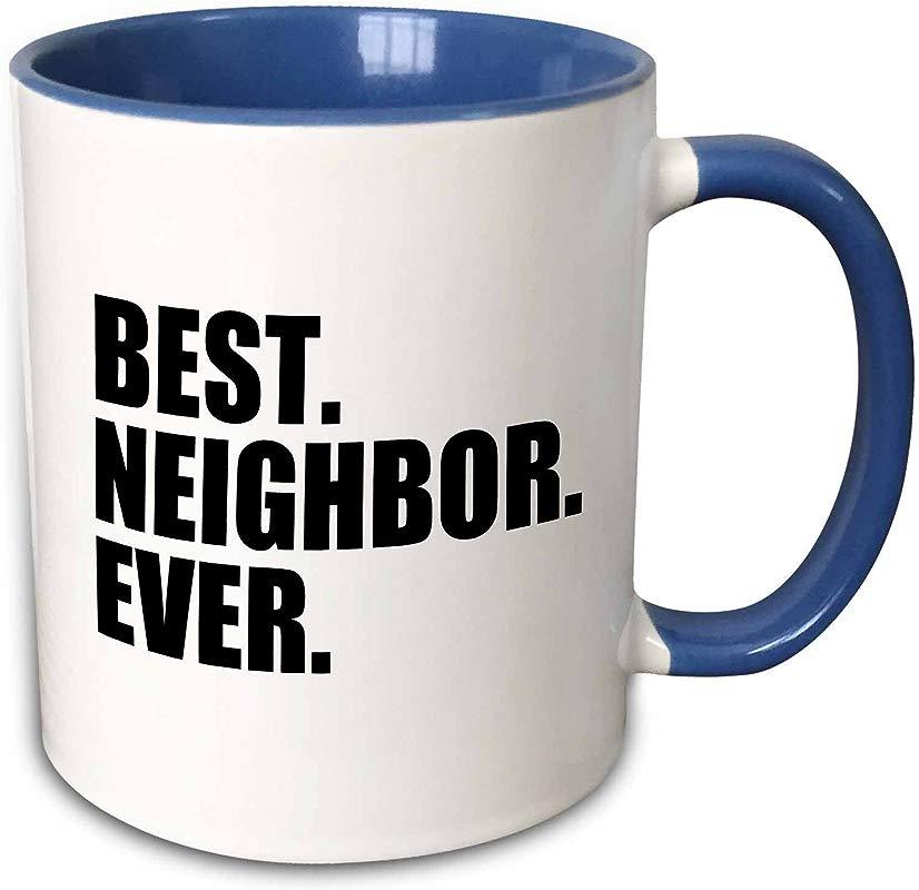 3dRose 151532 6 Best Neighbor Ever Mug 11 Oz Blue
