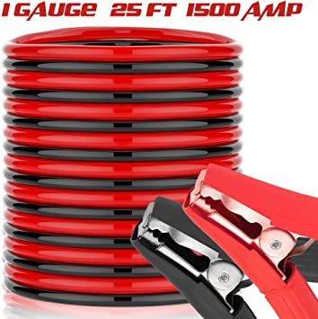 25 Feet Jumper Cables - 1500A 1 Gauge Heavy Duty Booster Jump Start Cable with Quick Connect Clamps: image