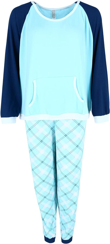 PJ Couture Women's Plus Size Patterned Jogger and Raglan Top Long Pajama Set