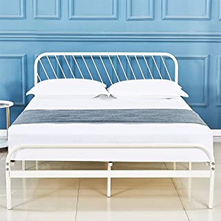 sleepalace Metal Bed Frame Full Size White Headboard and Footboard Mattress Foundation Country Style Iron-Art Double Bed Antique Sturdy Metal Steel Slat Suppot