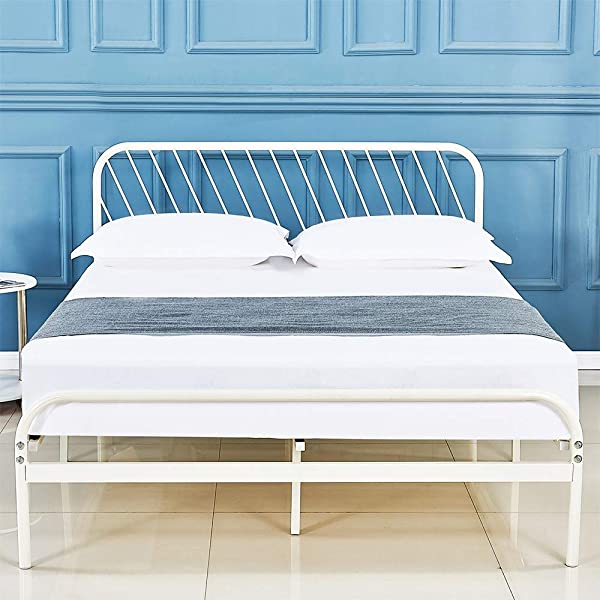 Sleepalace Metal Bed Frame Full Size White Headboard And Footboard Country Style Iron Art Double Bed Antique Sturdy Metal Steel Slat Suppot
